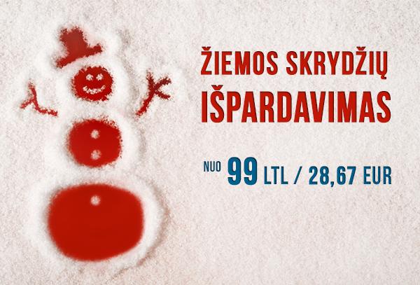 air Lituanica žiemos skrydžių išpardavimas! Nuo 99 LT (28,67 EUR)
