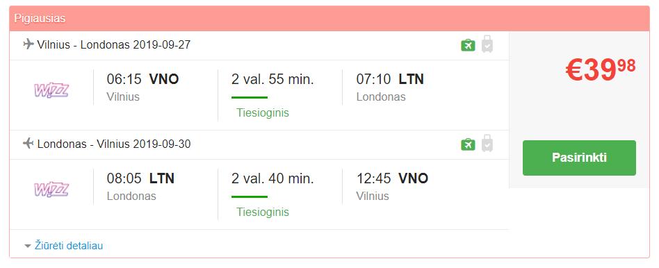 pigus lektuvu bilietai i londona